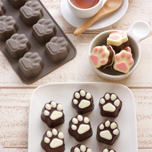 【10连超可爱猫爪肉球】巧克力矽胶模 猫掌 皂模 果冻