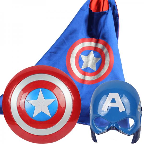 包郵兒童蝙蝠俠超人美國隊長服裝 盾牌面具斗篷披風 演出服飾道具
