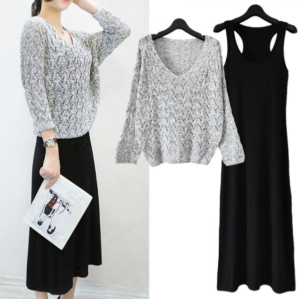 春秋季2015大码女装长袖针织套装裙韩版修身两件套连衣裙背心长裙