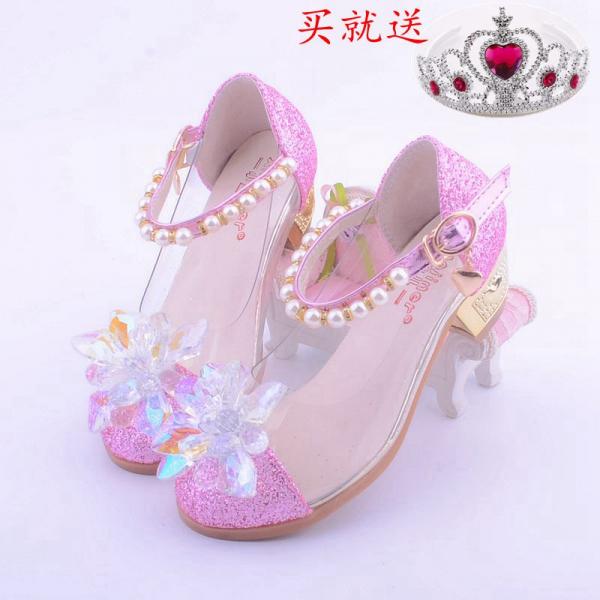 儿童包头高跟鞋灰姑娘玻璃亮钻女童水晶鞋公主凉鞋潮春秋冬天季